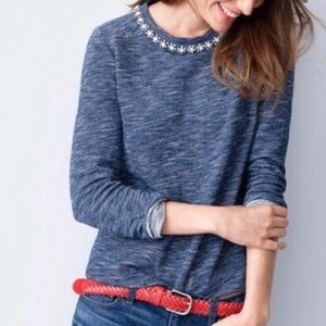 J. Crew Blue Floral Jeweled Collared Sweatshirt